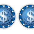 Set two icons with arrows and transparent dollar symbol — Stock Vector