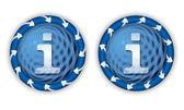 透明な情報シンボルと矢印の付いた 2 つのアイコンを設定します。 — ストックベクタ