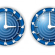 Set two icons with arrows and watches — Stock Vector #48162107