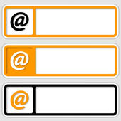 Set of three frames for inserting text and email symbol — Stock Vector