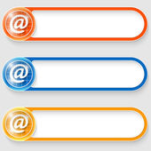 Set of three vector abstract buttons with email symbol — Stockvector