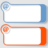 Set of two abstract text boxes with email symbol — Stock Vector