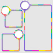 Set of three frames for entering text with colored frame — Stock Vector