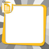 Yellow text box with paper clip and document icon — Stock Vector