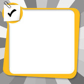 Yellow text box with paper clip and check box — Stock Vector
