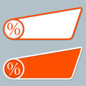 Two orange boxes for any text with percent symbol — Stock Vector