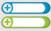 Set of two buttons with plus symbol — Vecteur