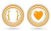 Set of two orange icons with symbols — Stockvektor