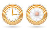 Set of two orange icons with symbols — Stock Vector