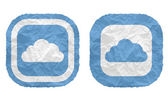 Two frames with texture crumpled paper and cloud — Stock Vector