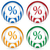 Set of four icon with percent symbol — Stock Vector