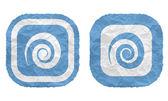 Dwie ramki z tekstury zmięty papier i spirala — Wektor stockowy