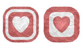 Two frames with texture crumpled paper and heart — Vettoriale Stock