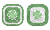 Two frames with texture crumpled paper and cloverleaf — Stockvector