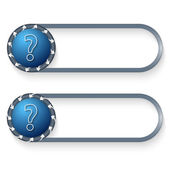 Set of two buttons with arrows and question mark — Stock Vector