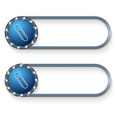 Set of two buttons with arrows and paper clip — Stock Vector
