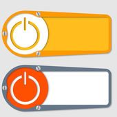 Set of two boxes for any text with power button — Stock Vector