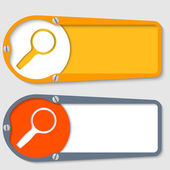 Set of two boxes for any text with magnifier — Stock Vector