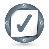 Dark abstract icon with paper and check box — 图库矢量图片