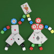 Stock Photo: Figure of chips, dice and cards with joker
