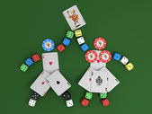 Figure of chips, dice and cards with a joker — Stock Photo