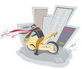 Guy on a yellow motorcycle — Stock Vector