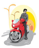 Guy on a red motorcycle — Stock Vector