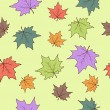 Stock Vector: Seamless pattern with autumn leafs