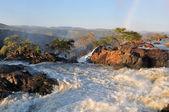 Zonsondergang op de ruacana-waterval, namibië — Stockfoto