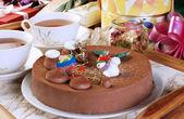 巧克力圣诞蛋糕 — 图库照片