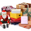 Santa Claus and gift — Stock Photo