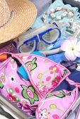 Abra la maleta con artículos de vacaciones — Foto de Stock