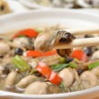 Oyster in black bean sauce — Stock Photo