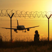 Airport at the sunset — Stock Photo