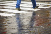 Zebra crossing in rain — Stock Photo