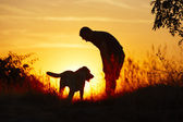 Homem com cachorro — Fotografia Stock