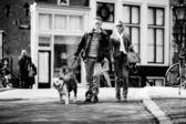 在阿姆斯特丹的街道上有一只狗散步的情侣 — 图库照片