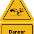 Yellow bicycle warning signs — Stock Vector