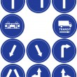 Traffic direction signs, tram and transit sign — Stock Vector