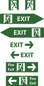 Emergency exit signs vector illustration — Stock Vector