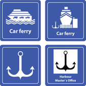 Car ferry and harbor sea sign — Vettoriale Stock