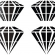 Diamonds in different variations vector illustration  — Stok Vektör