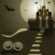 Halloween illustration with castle, bat, pumpkins and cemetery — Image vectorielle