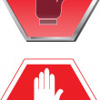 Stop sign with hand  — Stock Vector
