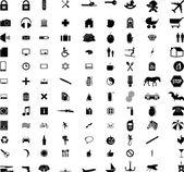 Mais de cem diferentes ícones e sinais — Vetor de Stock