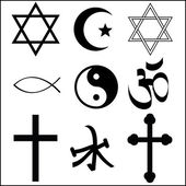 Various religious symbol — Stock Vector