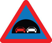 Tunnel and overtaking warning sign — Stock Vector