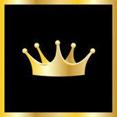 Golden crown in golden frame — Vector de stock