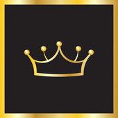 Couronne d'or dans le cadre doré — Vettoriale Stock