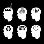 Different types of peoples brain and thinking — Stock Vector